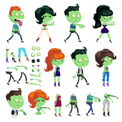 Big set of zombie men and women in cartoon style.
