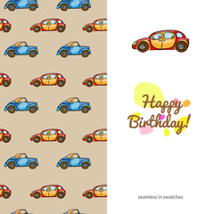 children's greeting card with the images of children's toys transport. sided with seamless swatches pattern. funny color colorful cars