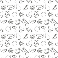 Seamless vector patterns with fruits. Black and white background with strawberry, banana, apple, pear, watermelon and cherry. Series of Fruits and Vegetables Seamless Patterns