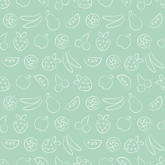 Seamless vector patterns with fruits. Pastel green background with strawberry, banana, apple, pear, watermelon and cherry. Series of Fruits and Vegetables Seamless Patterns