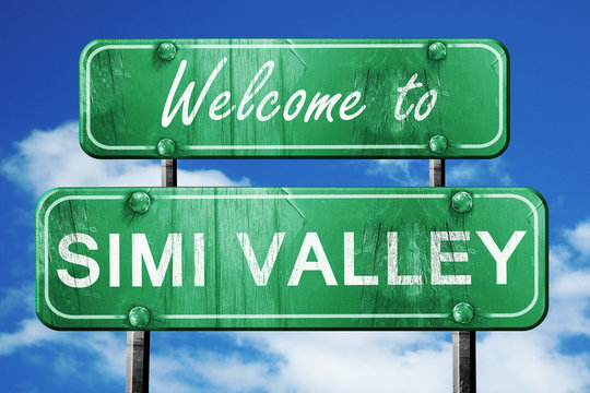 simi valley vintage green road sign with blue sky background