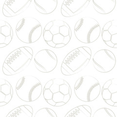 Seamless vector pattern with sport equipment. Black and white background with tennis balls, footballs, basketballs and socer balls. Series of  Sports Patterns.