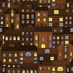 Old town at night retro seamless pattern