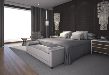 3d rendering beautiful bedroom with nice decoration