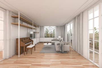 3d rendering nice wood living room with nice furniture in white home