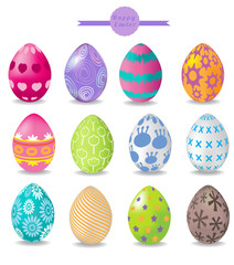 set of color easter eggs. vector illustration