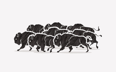 Group of buffalo running designed using black grunge brush graphic vector