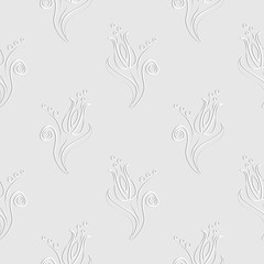 Seamless vector floral pattern. Decorative ornamental pastel gray background with flowers, leaves and decorative elements. Series of Floral Seamless Patterns
