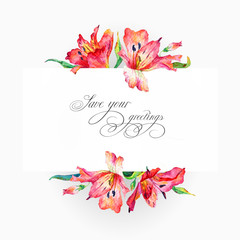 Greeting card  with red watercolor lilies.
