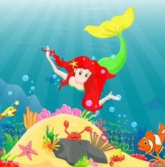 Beautiful mermaid Swimming Underwater with sea animals