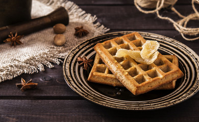 Ginger waffles with honey and spices
