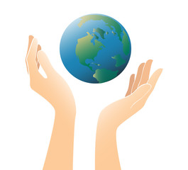 hands holding the world vector