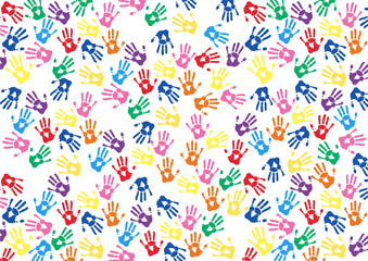 abstract hands print rainbow background
