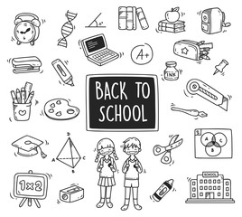 Back to school themed doodle isolated on white background