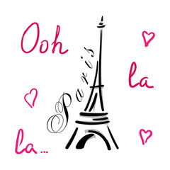 Eiffel Tower with hearts hand drawn. Decorative sketch silhouette. Typography background. France travel holiday concept. French graphic design for apparel, card, poster, t shirt. Vector illustration.