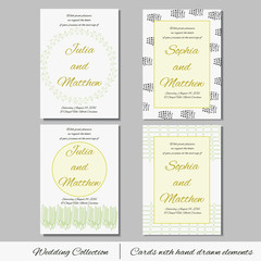 Unique set of wedding  invitation cards with hand drawn elements. Wedding collection. Save the date. RSVP and thank you card for bridal design. Vector postcard with dots and strings  decoration.