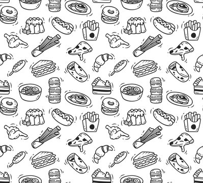 Various food doodle seamless background, restaurant background, various food in doodle style
