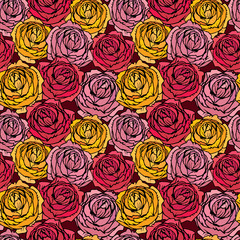 Seamless pattern with Realistic graphic Rose flowers - hand draw