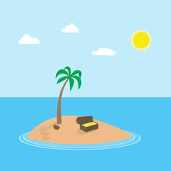 Vector cartoon scene of tropic island with palm and chest