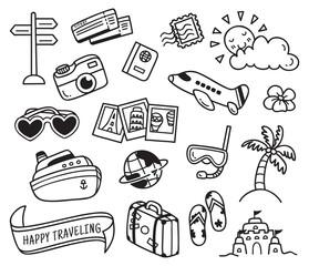travel themed doodle isolated on white background