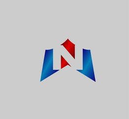 Abstract icon creative letter n
