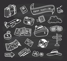 travel themed icon doodle on chalkboard background