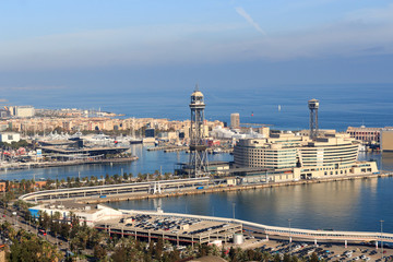 Port Vell Aerial Tramway in Barcelona, Spain