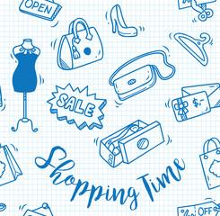 shopping time doodle, shopping background