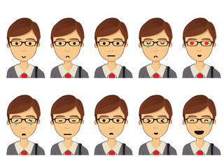 Boy Cartoon Character Vector Set. Isolated. Illustration