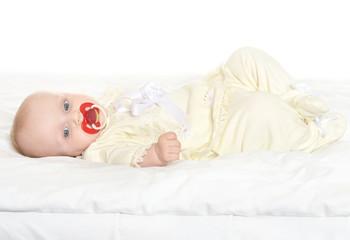 Adorable baby girl on blanket