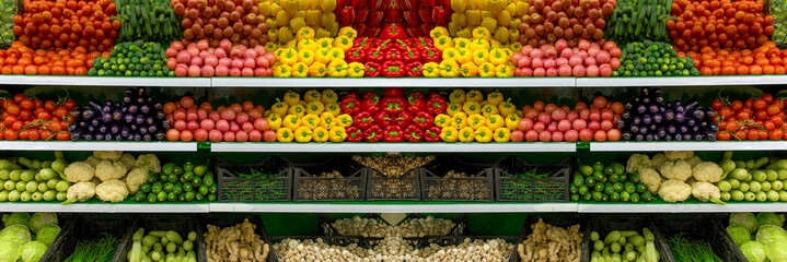 Vegetables on shelf in supermarket