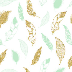 Feather tribal seamless pattern.