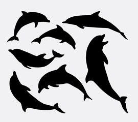 Dolphin fish animal silhouette. Good use for symbol, logo, mascot, web icon, sticker design, sign, or any design you want. Easy to use.