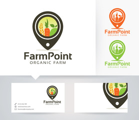 Farm Point vector logo with alternative colors and business card template