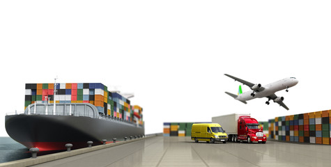 ship in the dock and freight on the dock concept different direc