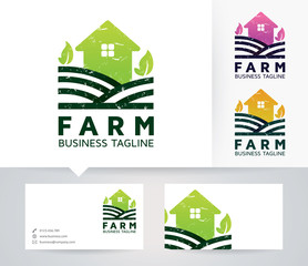 Farm vector logo with alternative colors and business card template