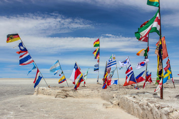 Flags of different countries at the entry to Salar de Uyuni, Bolivia