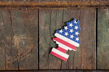 wood background and american flag