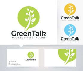Green Talk vector logo with alternative colors and business card template