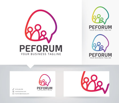 People Forum vector logo with alternative colors and business card template