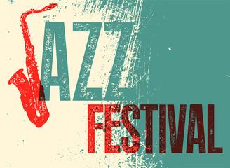 Jazz Festival poster. Retro typographical grunge vector illustration.