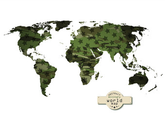 Camouflage military world map with stars.