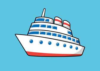 Ship on a blue background.