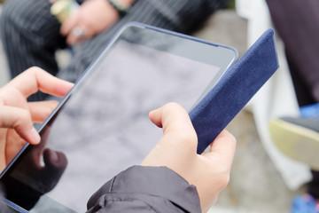 Close up of business woman using digital tablet,Social Media Life