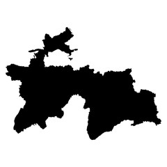 Tajikistan black map on white background vector