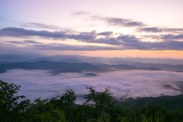 Sea of mist, view point in Thailand