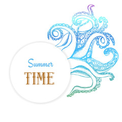 Summer time poster with octopuses tentacles