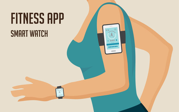 Running girl with a smartphone attached to the shoulder. Sports or fitness tracking app for running people. Vector illustration