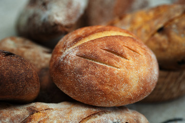 Loaves of Home Baked Leavened Bread made of wheat and buckwheat flour, raisins, tumeric using an antique recipe