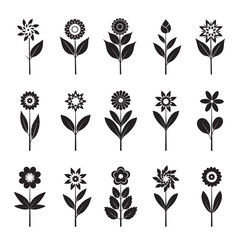 Set of black Flowers and Leafs. Vector Illustration.